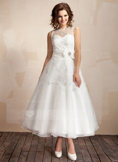 A-Line/Princess Scoop Neck Ankle-Length Taffeta Organza Wedding Dress With Ruffle Lace Crystal Brooch Bow(s) (002012216)