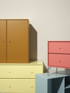 Montana chest of drawers in the colours Amber, Camomile, Rhubarb, Flint and Oat⎟Montana Furniture Furniture Manufacturers, Furniture Companies, Danish Furniture, Furniture Design, Plywood Furniture, Chair Design, Modern Furniture, Danish Design, Modern Design