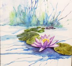 Water lily painting on watercolor canvas by WaterBearerStudios