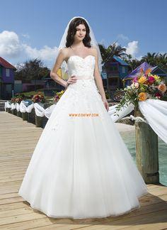 Traîne moyenne Col en cœur Naturel Robes de mariée pas cher