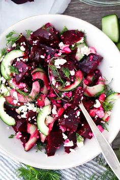 his Beet Salad with Feta, Cucumbers, and Dill takes only 10 minutes to make and is packed with sweet, salty, and tangy flavors. You can use roasted or canned beets for this easy vegetarian side. #vegetarianside #beetsalad