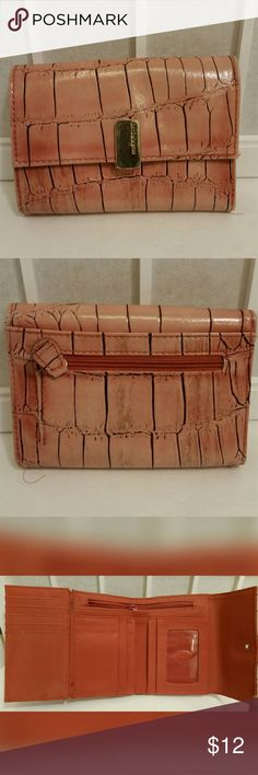 Liz Claiborne pink alligator print Liz Claiborne pink alligator print wallet   Used but in good condition   Faux leather   Aprox. 10.5in.X5.25in.X1.0in.  Has 17 slots for ID'S cards receipts etc. 2 bill slots 1 inside zipper pocket /1 zipper coin pocket Liz Claiborne Bags Wallets
