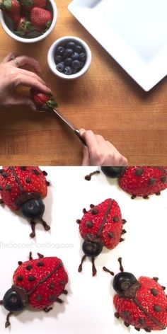 Ladybugs Super cute chocolate & strawberry ladybugs, a fun healthy snack that's sure to get kids eating more fruit!Super cute chocolate & strawberry ladybugs, a fun healthy snack that's sure to get kids eating more fruit! Gourmet Recipes, Cooking Recipes, Healthy Recipes, Cooking Tips, Dinner Recipes, Ladybug Food, Ladybug Party, Food Art For Kids, Birthday Food Ideas For Kids