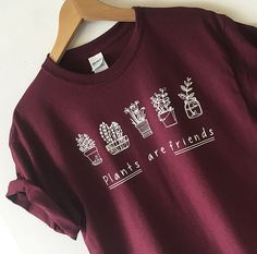 Plant are Friends Maroon Tshirt shirt Tees Adult Unisex custom clothing Size…
