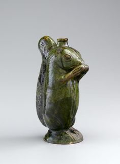 Moravian Redware Squirrel Bottle, attributed to Rudolph Christ, Salem, NC, early 19th century,