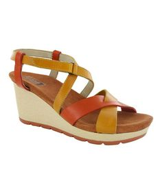 Look what I found on #zulily! Orange Papaya Invidia Leather Wedge #zulilyfinds