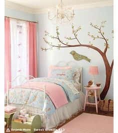 Love for L--color scheme and fluffed up bed spread with skirt!