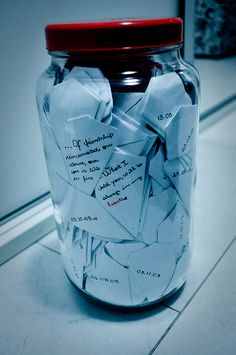 write down memories throughout the year and put them in the jar. open at the end of the year and enjoy :)