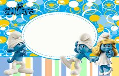 The Smurfs Free: Printable Invitations or Photo Frames. Free Printable Invitations Templates, Party Printables, Birthday Party Decorations, Party Themes, Smurf Village, Oh My Fiesta, Freebies, Writing Paper, Crafty Craft
