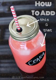 "DIY Mason jar ""sippy cup."" Use chalkboard paint so you can use chalk to write names on each jar. Great for parties!"