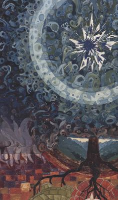 "Carl Jung (Swiss, 1875-1961) Illumination from The Red Book (Liber Novus), 1913-1930 ""Everything else is to be derived from this… My entire life consisted in elaborating what had burst forth from the unconscious and flooded me like an enigmatic stream and threatened to break me."""