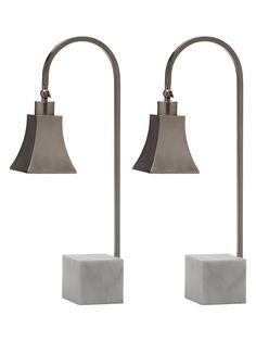 050dd01b4e13 Safavieh Charley Desk Lamp Set in Nickel   White Marble