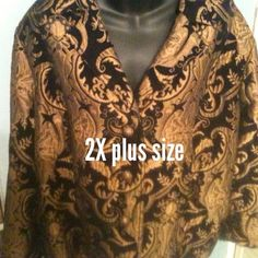 2X ELCC black & gold jacket elegant velvet brocade This beautiful coat is perfect for holiday parties .. church .. dinner .. I know you'll get lots of compliments when people see you in it ! ELCC Jackets & Coats