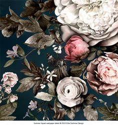 Detail from Summer Squall in Midnight Blue. Large-scale, dramatic, floral wallpaper and fabric by Ellie Cashman Design. Peonies are 50 cm/18 in. and there are butterflies and beetles hiding in the shadows! For more info: www.elliecashmandesign.com