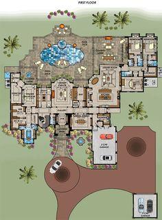 Florida Mediterranean House Plan 71539 Level One