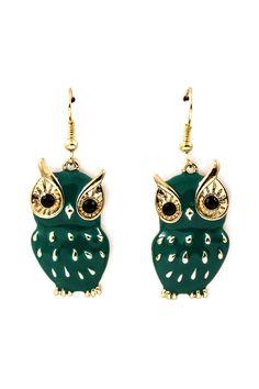 Emerald Green #Owl Earrings