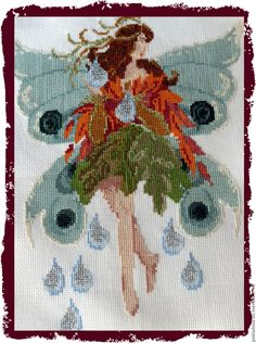 """Купить Вышитая картина Танцующие феи """"Девочка-осень"""" - мятный, фея, фантазия, сказка"""