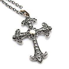 Mystic Cross Necklace Sterling Silver Big Cross by JewelryByMagda, $56.00