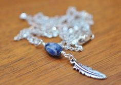 Sodalite & Silver Feather Charm Necklace, Tierra Cast, Long