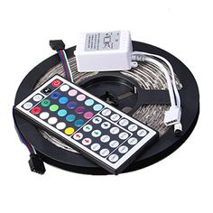 XKTTSUEERCRR 5050 SMD 300LED 5M164Ft Waterproof Flexible RGB Color Changing LED Light Strip For House Party Holiday Decoration 44Key Multifunctional Remote Controller  No Power Supply  *** More info could be found at the image url.