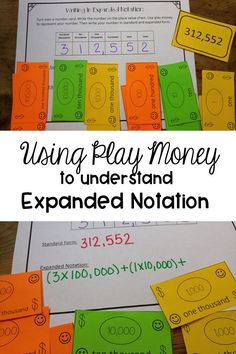 Need a new strategy for teaching expanded notation? Use play money to help your students really understand this place value concept. Perfect for grades third, fourth or fifth, but can also be used for older students who need a little something different. Teaching Place Values, Teaching Math, Teaching Tips, Creative Teaching, Math Resources, Math Activities, Fun Math, Math Games, Fifth Grade Math