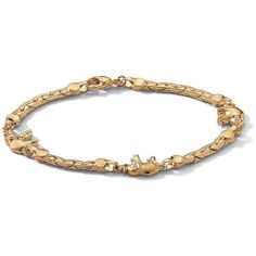 PalmBeach 14k Goldplated Elephant Station Anklet Tailored (46 BAM) ❤ liked on Polyvore featuring jewelry, gold plated jewelry, lobster claw charms, gold plated jewellery, gold plated charms and anklet charms