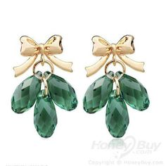 Amazing Style 925 Silver Green Crystal Studs Jewelry
