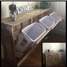 """Shanty Sisters on Instagram: """"Go girl! Loving @annabaileying version of our DIY laundry sorter! ❤️ Makes laundry kind of fun, right?! Free plans to build your own are on our site! #shanty2chic #hgtv #OpenConcept"""""""