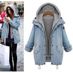 2016 jacket women Two Piece Set Denim Jacket Hooded Plus Size Oversized Casual Women Coat Outwear Light Blue 3XL 4XL