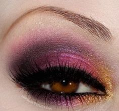 purple pink and gold eye make up # by TinyCarmen
