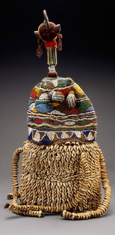 Africa | ade Bayanni (crown of Bayanni) from the Yoruba people of Nigeria | Cloth, leather, cowrie shells, glass beads, metal, plant fiber, wood, string, rawhide