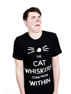 Dan and Phil Whiskers Design T-shirt (Black) – Dan & Phil Shop Daniel James Howell, Dan Howell, Dan And Phil Shirts, Youtubers, Youtuber Merch, Long Bean, Phan Is Real, Dan And Phill, Phil 3