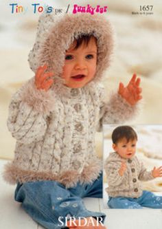 Sirdar Snuggly Tiny Tots DK Baby Hooded Jacket Cardigan 1657