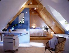 Alles unter einem Dach: offenes Badezimmer mit Badewanne