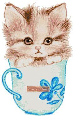Kitten in a cup cross stitch kit