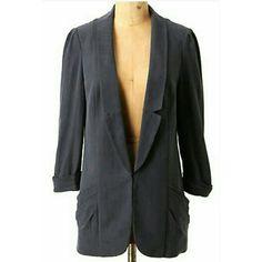 Anthropologie // Grey Silk Blazer Lovely silk blazer by Lolling for Anthropologie. 100% silk. Size 8. Worn twice. Anthropologie Jackets & Coats Blazers