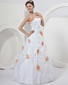 A-line Wedding Dresses Strapless Floor Length Organza Satin Multi-Colored 010010100393