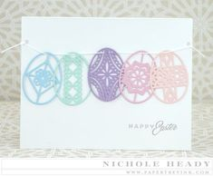 handmade Easter card ... banner of intricately die cut Easter eggs from pastel colors ... delightful!