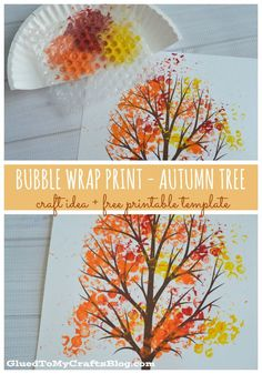 Free Tree Trunk Template Herfst - Knutselen met kinderen - Bubble Wrap Print - Autumn Tree {w/free printable} - Glued to my Crafts Autumn Art, Autumn Theme, Autumn Ideas, Thanksgiving Crafts, Holiday Crafts, Bubble Wrap Crafts, Bubble Wrap Art, Fall Arts And Crafts, Autumn Crafts Kids