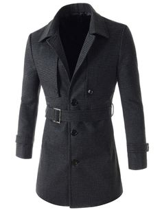 (OSC16-CHARCOAL) Mens Slim Fit Check Pattern Single Breasted 3 Button Belted Trench Coat