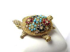 Ciner Brooch Turtle Turquoise Rhinestone Brooch от OurBoudoir