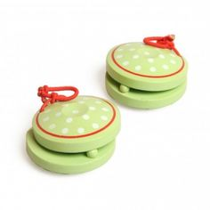 Castagnetten, groen met witte stipjes