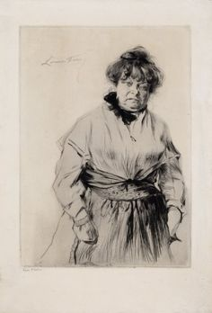 "Edgar #Chahine  ""Louise France"", 1902. Punta seca sobre chine colle sobre Cobre de 41x29 cm., Papel Verjurado de 250 gr. de medidas 52,5x35,7 cm. #art #Venezia"