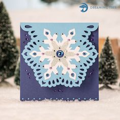 Snowflake Christmas SVG Card for Cricut, Silhouette, Sizzix and other SVG compatible electronic cutting machines.