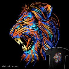 The Color of Rage | Shirtoid #colors #glitchygorilla #lion #nature #rage
