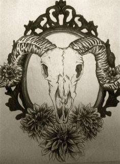 goat head horns skull goatskull mirror frame dahlias flowers tattoo ...