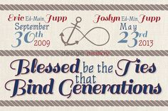 """Personalized gift for grandparents, with a nautical influence.  """"Blessed be the ties that bind generations"""". A beautiful quote and the option to customize with grandchildren's information.  If you like what you see but want to change things up, let us know! We'd be happy to do a custom order of a similar style for you.  #craftshout0202"""
