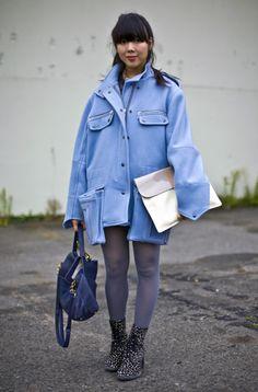 9a5d8e80ccd3 Susie Bubble Coat Big Blue Coat Bag Beige and Grey Clutch Bag Blue