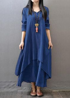 Navy Blue Long Sleeve Straight Maxi Dress