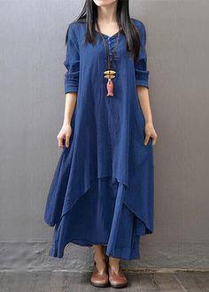 Navy Blue Long Sleeve Straight Maxi Dress | lulugal.com - USD $27.79